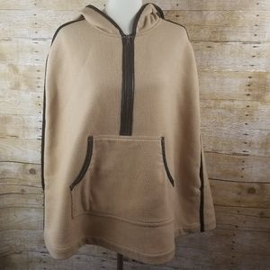 Trouve Wool Leather Camel Poncho Hooded Cape